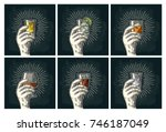 male hand holding glass with... | Shutterstock .eps vector #746187049