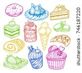 sketch set of isolated sketches ... | Shutterstock .eps vector #746187220