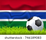 the gambia flag and soccer ball | Shutterstock .eps vector #746189083