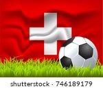 switzerland flag and soccer ball | Shutterstock .eps vector #746189179