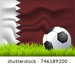qatar flag and soccer ball | Shutterstock .eps vector #746189200