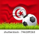 tunisia flag and soccer ball | Shutterstock .eps vector #746189263