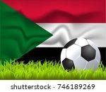 sudan flag and soccer ball | Shutterstock .eps vector #746189269