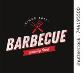 barbecue logo symbol vintage... | Shutterstock .eps vector #746195500