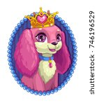little cute cartoon fluffy dog...   Shutterstock .eps vector #746196529
