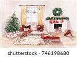 watercolor illustration of... | Shutterstock . vector #746198680