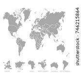 world map. europe asia america... | Shutterstock .eps vector #746215864