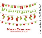 christmas greeting card with... | Shutterstock .eps vector #746216260