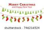 christmas stockings and... | Shutterstock .eps vector #746216524
