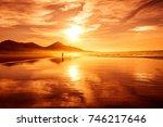 amazing beach sunset with... | Shutterstock . vector #746217646