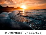 amazing beach sunset with... | Shutterstock . vector #746217676