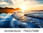 Amazing beach sunset with...