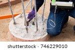 seismic test  low strain pile... | Shutterstock . vector #746229010