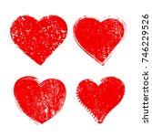 set of grunge hearts.vector... | Shutterstock .eps vector #746229526