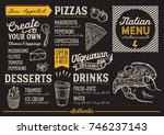 pizza food menu for restaurant... | Shutterstock .eps vector #746237143