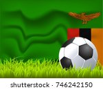 zambia flag and soccer ball | Shutterstock .eps vector #746242150