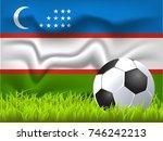 uzbekistan flag and soccer ball | Shutterstock .eps vector #746242213