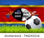 swaziland flag and soccer ball | Shutterstock .eps vector #746242216