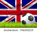 united kingdom flag and soccer... | Shutterstock .eps vector #746242219
