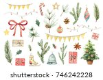 watercolor christmas set with... | Shutterstock . vector #746242228