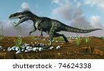 monolophosaurus attack - stock photo