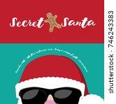 cartoon secret santa christmas... | Shutterstock . vector #746243383