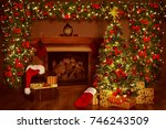 christmas fireplace and xmas... | Shutterstock . vector #746243509