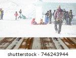 perspective empty wooden planks ... | Shutterstock . vector #746243944