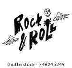 rock and roll. hand drawn...   Shutterstock .eps vector #746245249