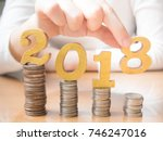 2018 new year saving money and... | Shutterstock . vector #746247016