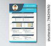 unique flat color curriculum... | Shutterstock .eps vector #746249650