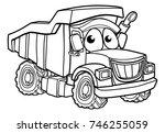 dump tipper truck lorry dumper... | Shutterstock .eps vector #746255059