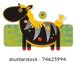 Cheerful applique fabric with zebra - stock vector
