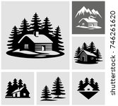 Log cabin in the woods vector icon  - stock vector