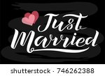 hand drawn just married white... | Shutterstock .eps vector #746262388