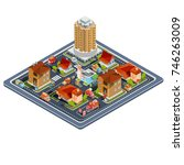 isometric illustration... | Shutterstock . vector #746263009