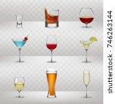 set of illustrations of glasses ... | Shutterstock . vector #746263144