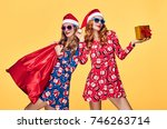 christmas. two young woman and... | Shutterstock . vector #746263714