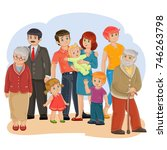 illustration of a happy family ... | Shutterstock . vector #746263798