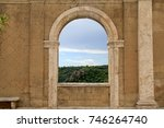 italian view through the arch... | Shutterstock . vector #746264740