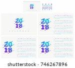 2018 calendar vector design set ... | Shutterstock .eps vector #746267896