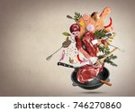 meat and beef meatballs with... | Shutterstock . vector #746270860