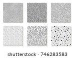 collection of seamless  memphis ... | Shutterstock .eps vector #746283583