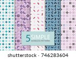 collection of colorful seamless ... | Shutterstock .eps vector #746283604
