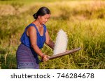 farmer asian woman threshed... | Shutterstock . vector #746284678
