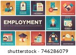 employment   set of flat design ... | Shutterstock .eps vector #746286079