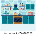 cozy kitchen interior with... | Shutterstock .eps vector #746288929