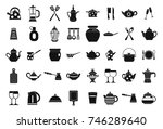 crockery icon set. simple set... | Shutterstock .eps vector #746289640