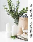 modern christmas composition.... | Shutterstock . vector #746295346