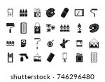 paint tools icon set. simple... | Shutterstock .eps vector #746296480